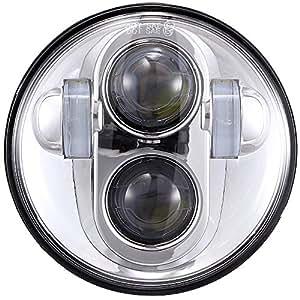 TRUCKMALL DOT 5.75 inch Daymaker LED Headlight Projector Bulb Kit for Harley Davidson Street Bob Super Wide Glide Dyna Low Rider Night Rod Train Softail Deuce Custom Sportster Iron 883 Headlamp Chrome