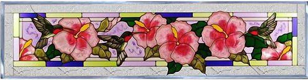 Hummingbirds Hibiscus Horizontal Art Glass Panel Wall Hanging Suncatcher 10 x 42