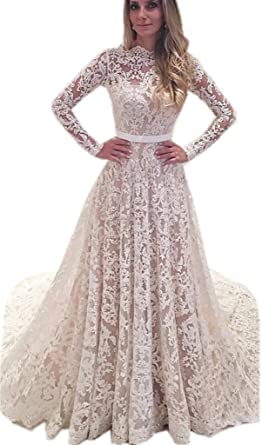 3d8f9084b49e APXPF Women's Lace Tulle Illusion Neckline Wedding Dress for Bride with Long  Sleeves Ivory US2