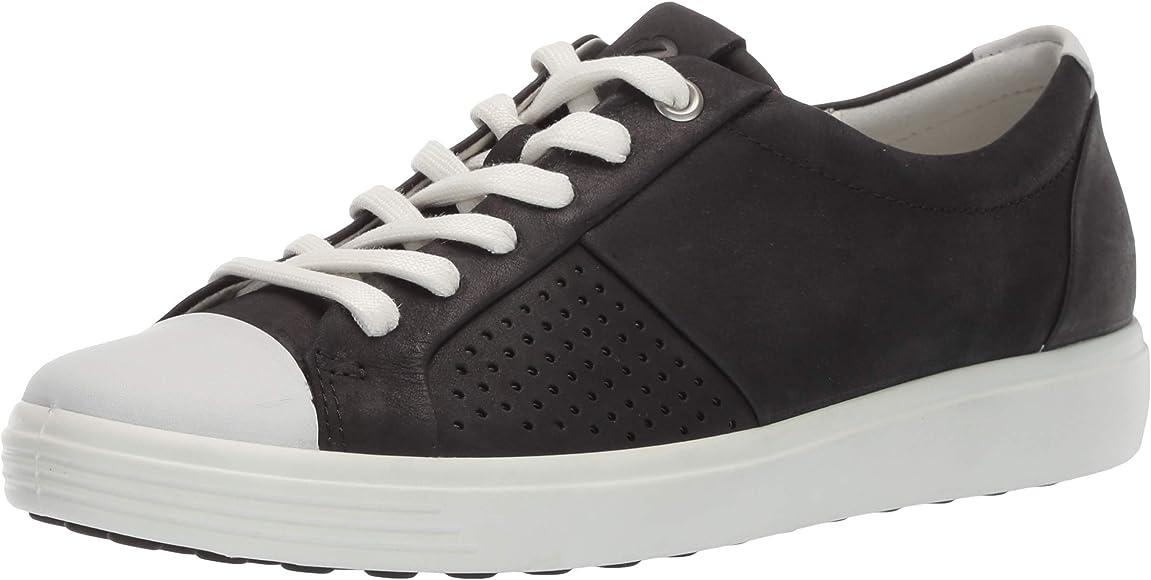 af9924b413f12 ECCO Women's Women's Soft 7 Sneaker, Black Cap Toe, 35 M EU (4-4.5 ...