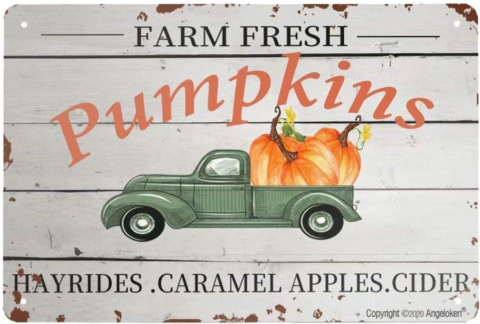 Angeloken New Metal Tin Sign Retro Vintage Farm Fresh Pumpkins Aluminum Sign for Home Coffee Wall Decor 8x12 Inch