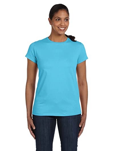 d6081858fd Hanes Women s Relaxed Fit Jersey ComfortSof Crewneck T-Shirt Blue Horizon 2X