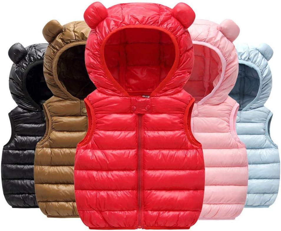Blue,12-18 Months Goldweather Toddler Baby Boys Girls Winter Down Coat Bear Ears Hooded Zipper Padded Warm Jacket Waistcoat Overcoat