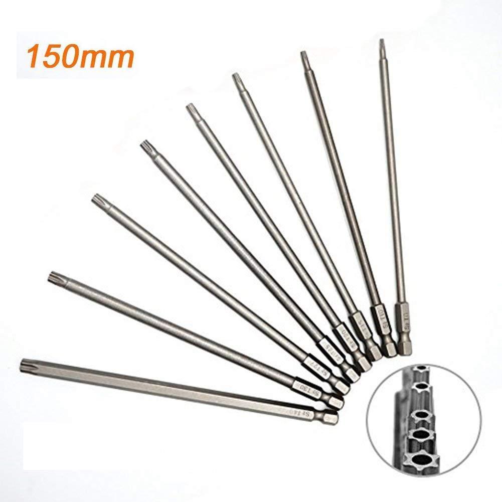 JTENG 8 Stü ck 150mm Torx Bits Schraubendreher Set Extra lang und magnetisch T8-T40 1/4 Zoll Sechskant Schaft Elektrische Schraubendreher Werkzeuge