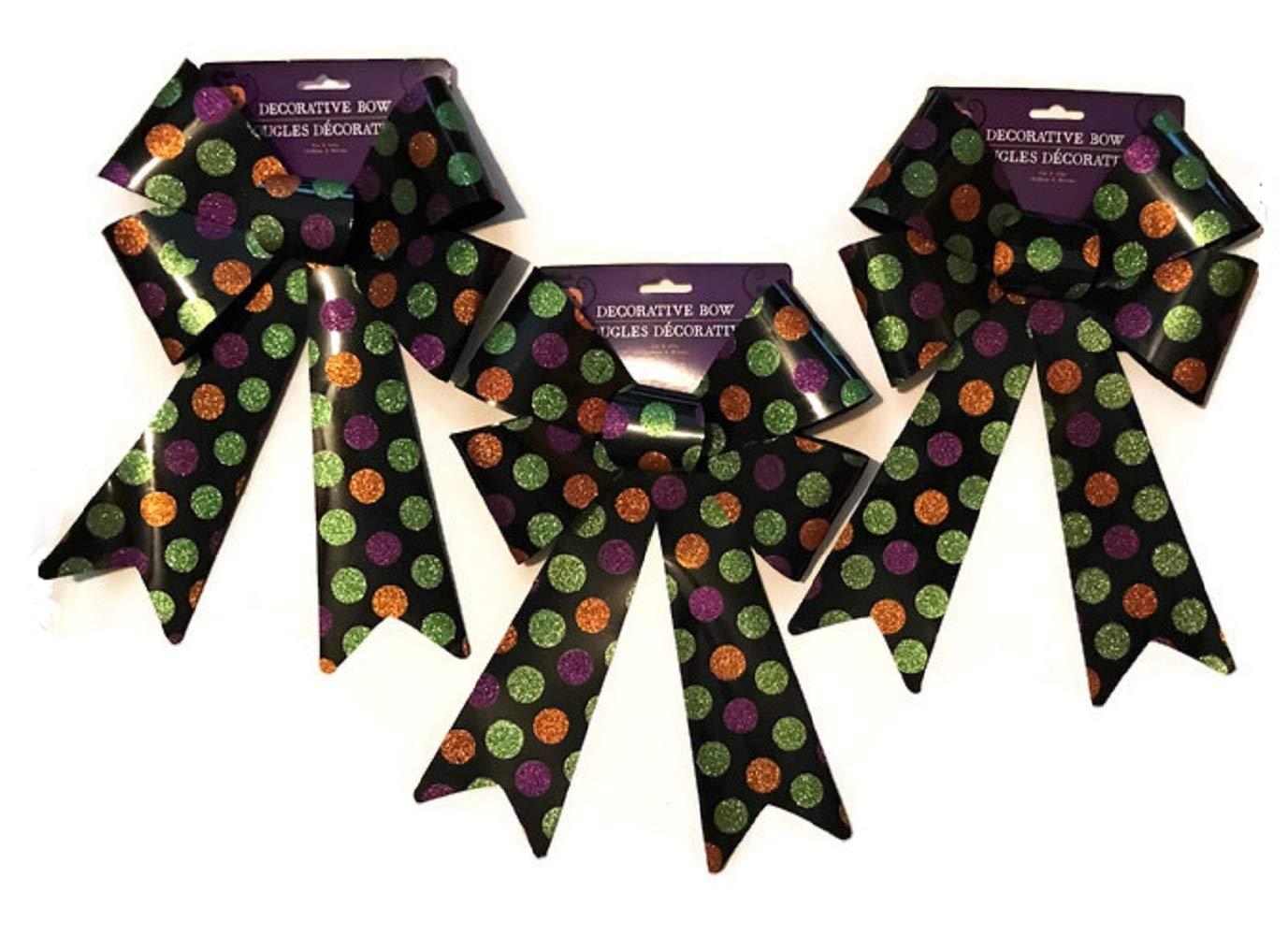 GBI Large Halloween Fall Autumn Decorative Glittery Plastic Bows (Dots)