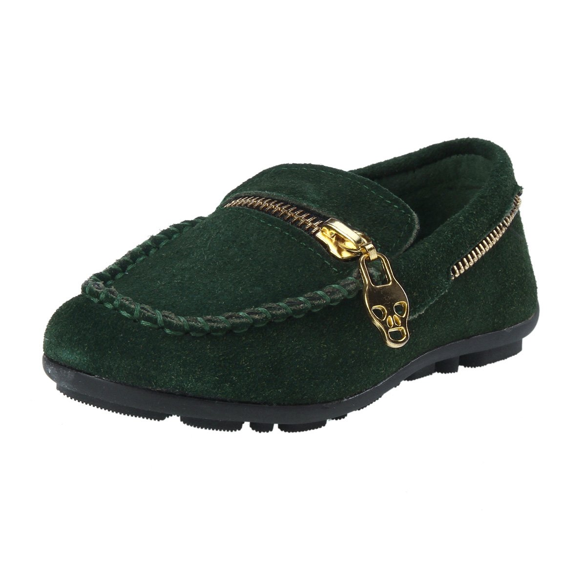 Damara Toddler Suede Stitch Zipper Round Toe Flats,Green,10 M Toddler