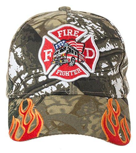 Artisan Owl Fire Fighter Fire Department Rescue Flames Baseball Cap Hat (Camo) ()