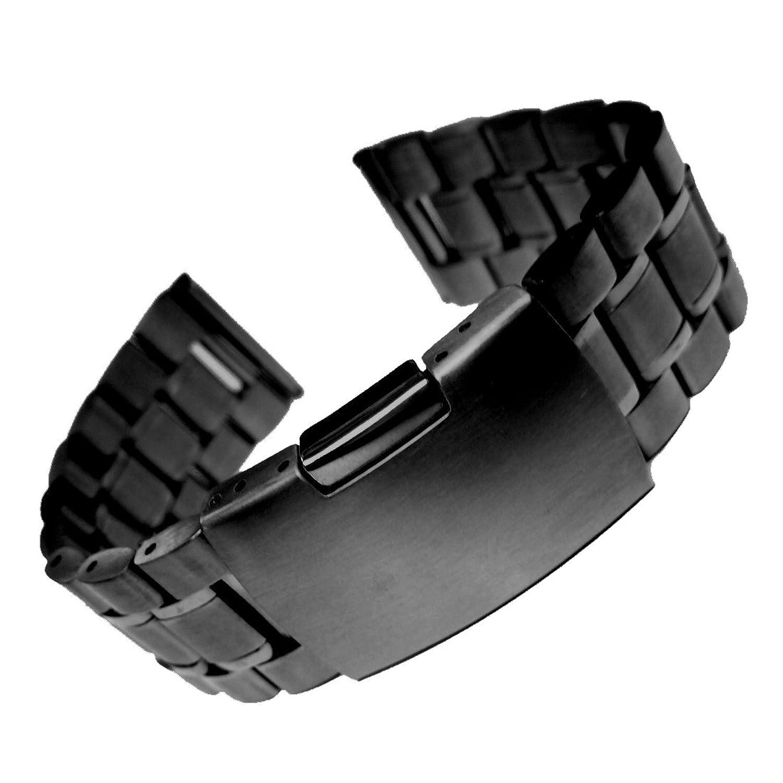 20ミリメートル固体ステンレススチール腕時計のブレスレットバンドブラック  B06XGWB6HF
