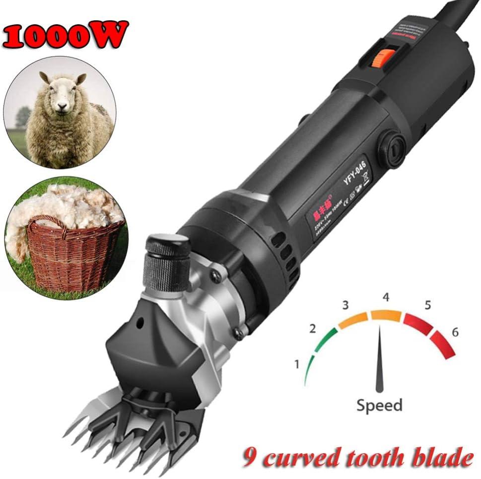Jjwwhh 1000W 6 Velocidades Ajustables Cortapelos para Animales Oveja Alpaca Lana Eléctrico y Profesional Máquina Esquiladora