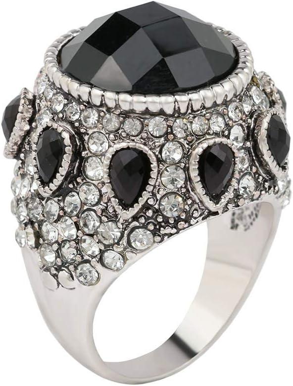 Anillo de Europa y los Estados Unidos Moda exagerada Piedra Preciosa Negra Natural Antigua Gota de Plata Conjunto de Diamantes de imitación Joyas de Cuello Blanco (Size : 7)