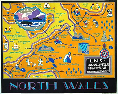 WholesaleSarong North Wales LMS Vintage British Rail Travel Posters Studio Office Wall Accents for Living Room (Accent North Wales)
