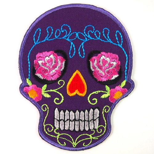Purple Sugar Skull Rose Eyes Awesome Cool Embroidered Iron On Patches WITH FREE GIFT