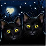 CafePress - BLACK CATS LOVE MOON STARS - Tile Coaster, Drink Coaster, Small Trivet