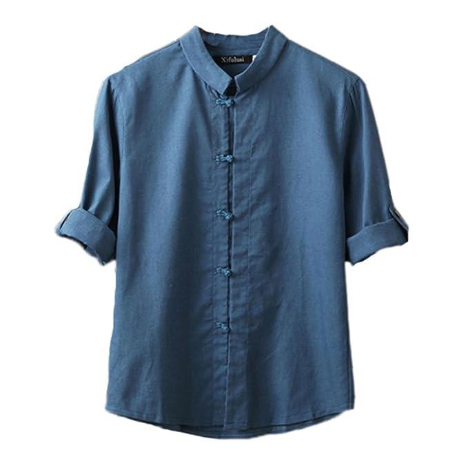 Blusa de Lino de los Hombres, Camisa de Estilo Chino clásico Kung Fu Tops de