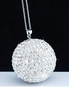 Bling Crystal Ball Car Rear View Mirror Charm,Crystal Sun Catcher Ornament,Car Charm Decoration, Bling Car Accessories,Rhinestone Hanging Ornament for Car & Home Decor (Crystall Ball - White)