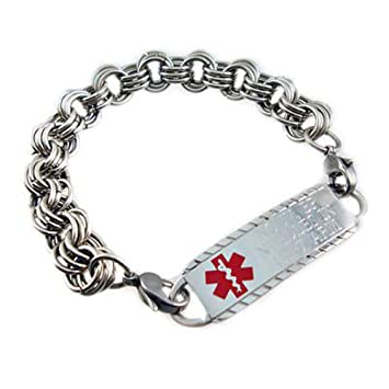 Amazon Com Medical Id Alert Elite Triple Links Stainless Bracelet