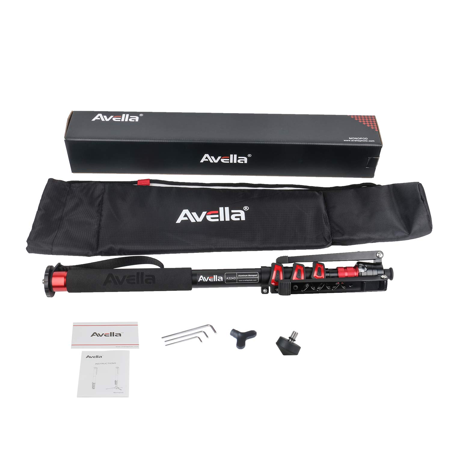 Avella A324D Aluminum 67 Inch Video Monopod 4 Section with Tripod Feet Compatible for DSLR Camera Camcorder