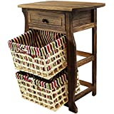 DL-Furniture - Fully Assembled Night Stand With Basket Extra Storage | 3 Tier 2 Basket | Finish: Nature