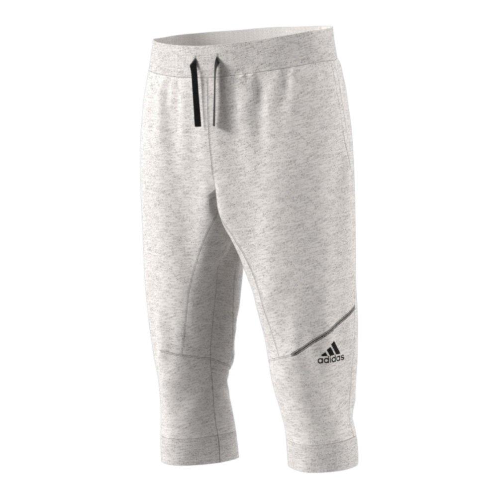 adidas Men's Basketball Cross Up 3/4 Pants, Chalk White/Medium Solid Grey, Small