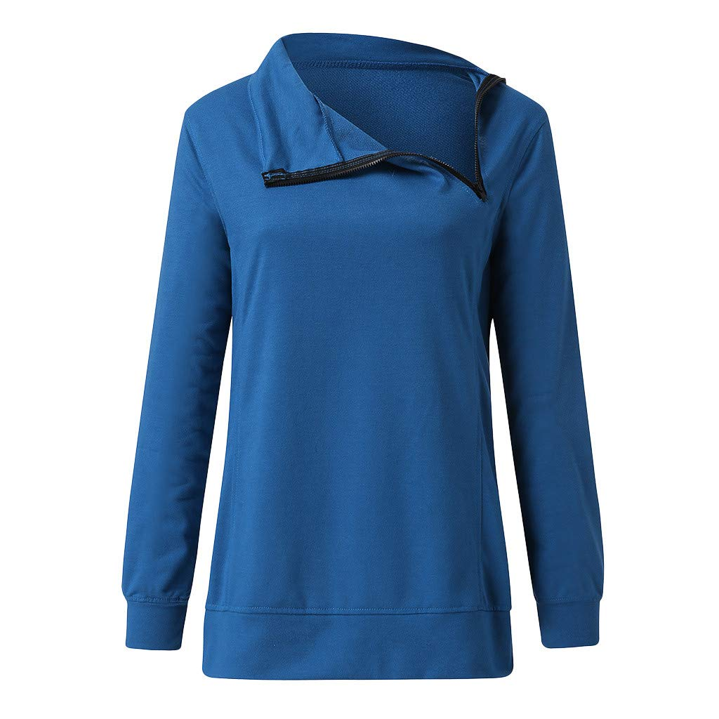 Rucokecg Women Fashion Casual Long Sleeve Zipper Stand Collar Solid Hoodie Sweatshirt Tops Blouse for Autumn Winter XXL, Blue