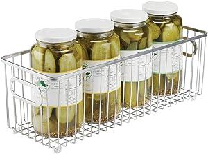 mDesign Metal Farmhouse Kitchen Pantry Food Storage Organizer Basket Bin - Wire Grid Design - for Cabinets, Cupboards, Shelves, Countertops, Closets, Bedroom, Bathroom - 16