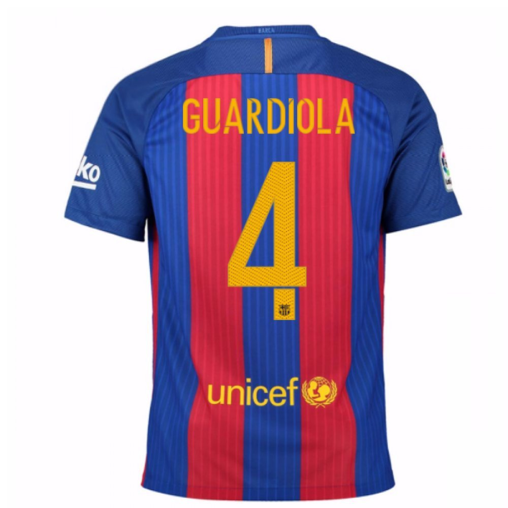 2016-17 Barcelona Home Football Soccer T-Shirt Trikot (PEP Guardiola 4) - Kids