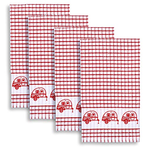 Cackleberry Home Retro Camper Windowpane Check Cotton Terrycloth Kitchen Towels, Set of 4 (Red)