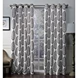 Exclusive Home Queensland Printed Medallion Sateen Woven Window Curtain Panel Pair with Grommet Top, 52×108, Winter White, 2 Piece For Sale