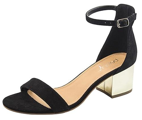 715de6a8063 Betani Women's Strappy Open Toe Block Heeled Sandal