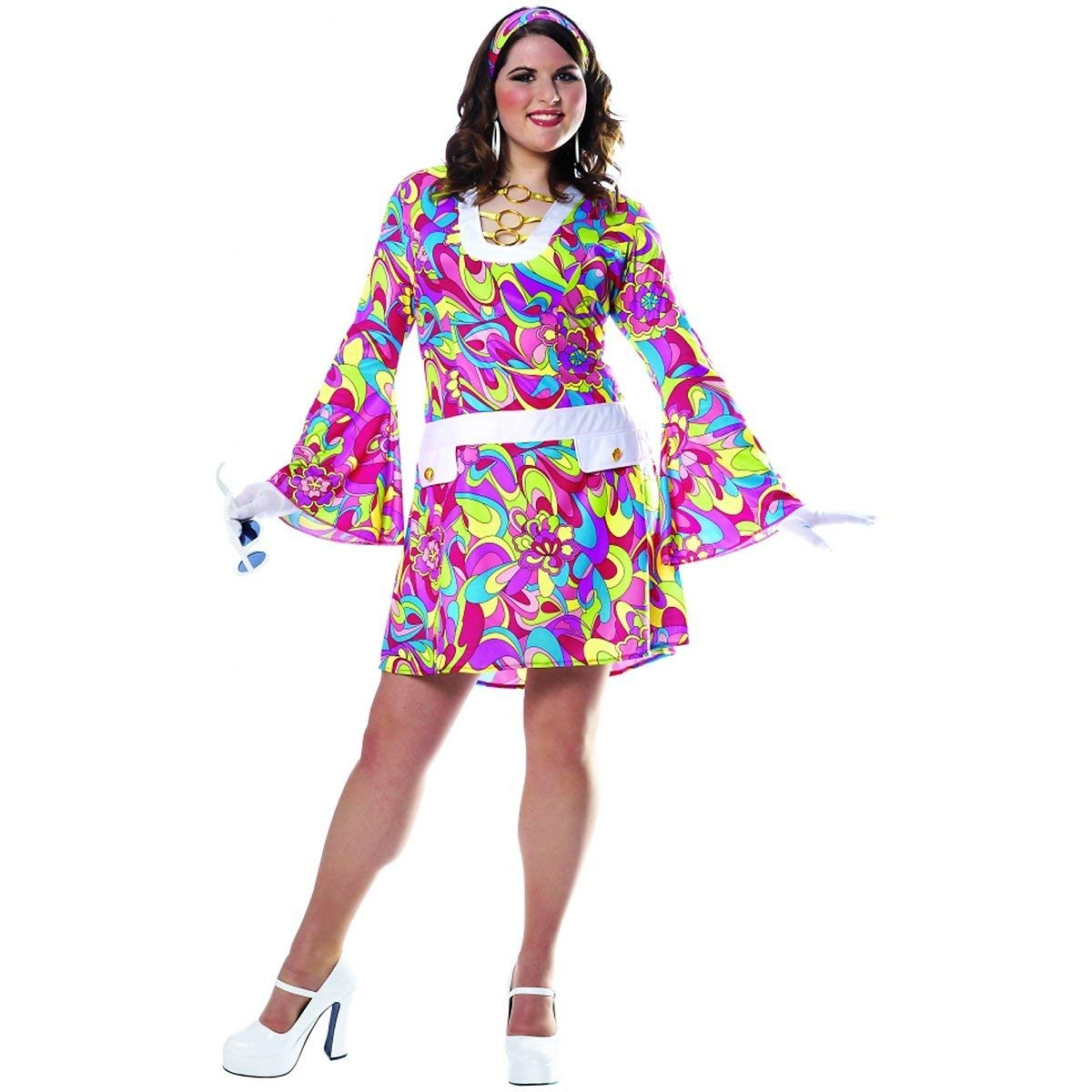 60s Costumes: Hippie, Go Go Dancer, Flower Child, Mod Style Costume Culture Groovy Chic Plus Adult Costume - Plus Size Multicolored Womens Adult XX-Large $40.57 AT vintagedancer.com
