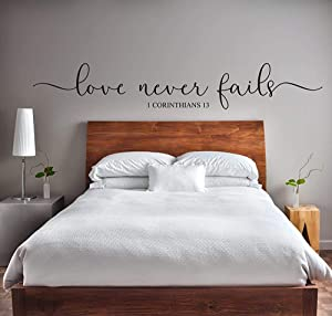 Vinyl Wall Art Decal Love Never Fails 1 Corinthians 13 Love Romance Engagement Wedding Anniversary Valentines Day Bedroom Decor Large Decals for Walls Custom Color