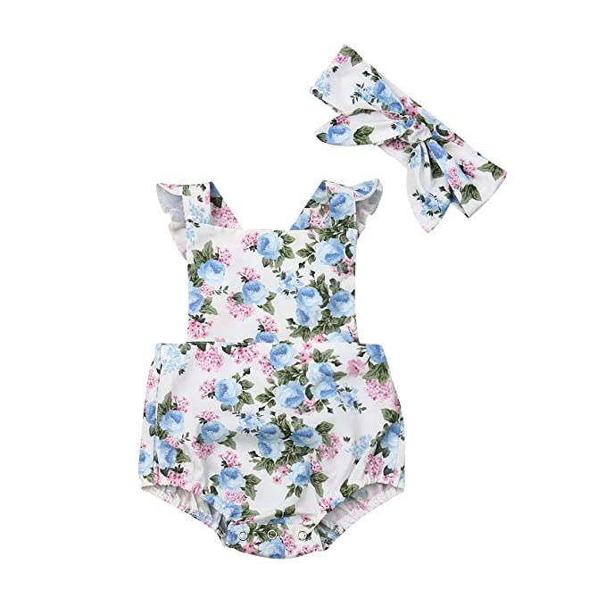 Newborn Kids Baby Girl Flower Romper Bodysuit Jumpsuit Headband Outfits Clothes