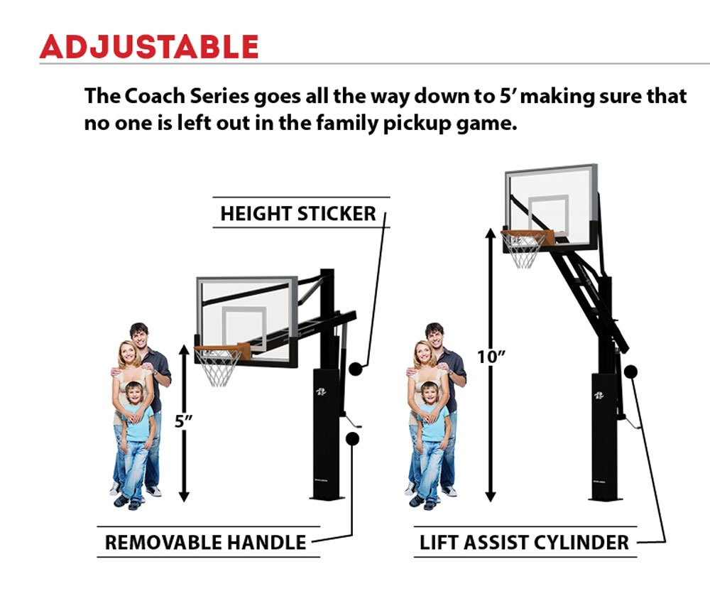 Ryval C872 Basketball Hoop 72 Clear View Tempered Dimensions Diagram Glass Backboard Height Adjustable For Children Adults In Ground Goal