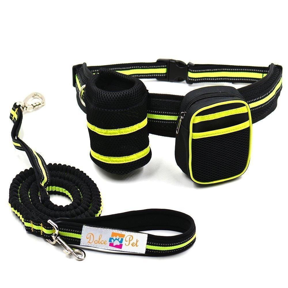 Hands Free Waist Dog Leash: Reflective Retractable Dog Bungee Leash with Bottle & Bag Holder   Waterproof Adjustable Waist Belt   Shock-Absorbing Small & Large Dog Walking Hiking Running Jogging Leash