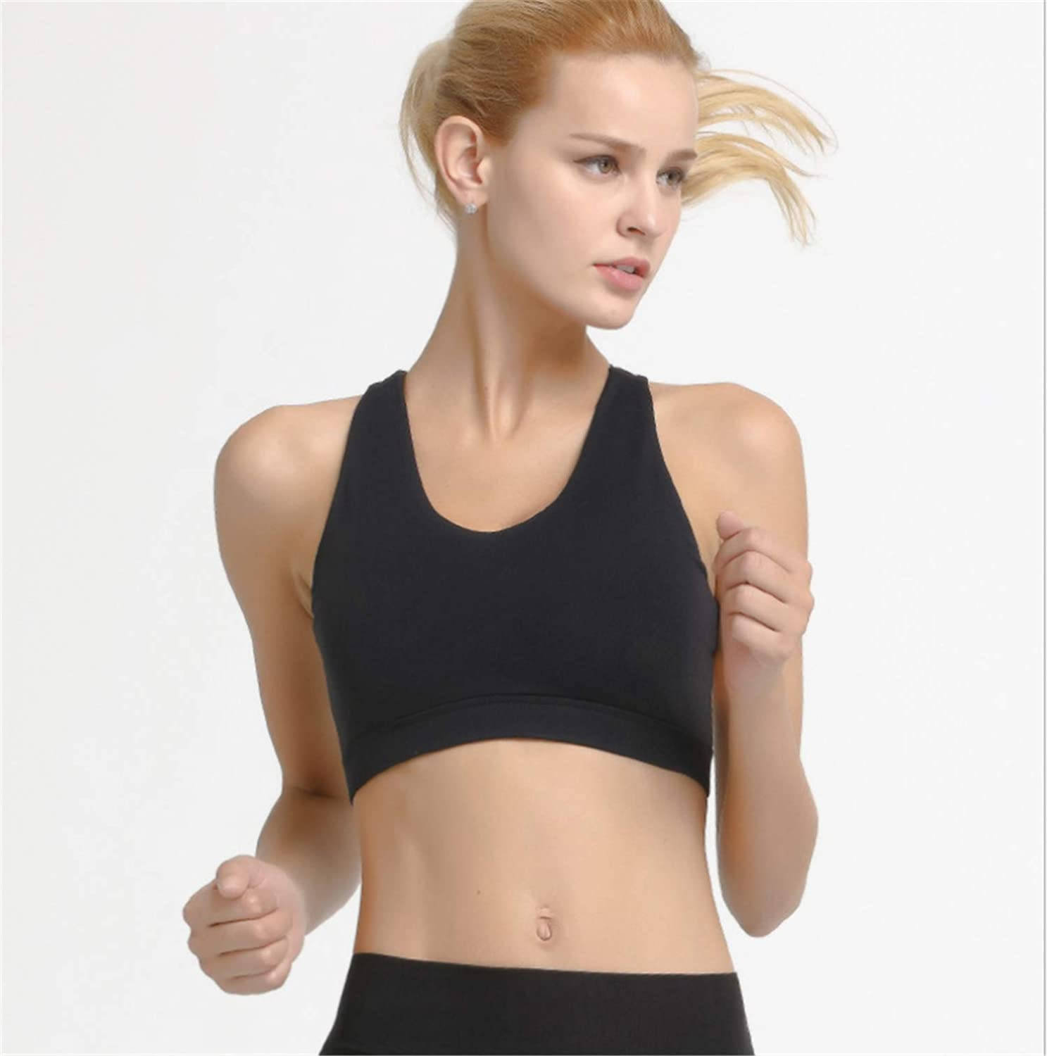 Black Womens Yoga Bra 2pieces Padded Sport Light Support Strappy Free to Be Wireless Running Ourdoor Indoor