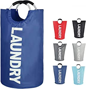 EPICORD Laundry Basket Collapsible Fabric Large Clothes Hampers for Laundry Folding Storage Washing Bin with Handles for College, Camping and Home in 6 Colors (Dark Blue)