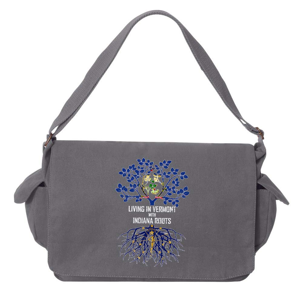 Tenacitee Living In Vermont with Indiana Roots Grey Brushed Canvas Messenger Bag