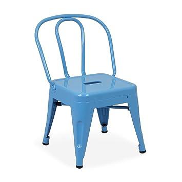 Vaukura Silla Tolix Kids - Silla Industrial Metálica Brillo Infantil - (Varios Colores) (Azul Brillante)