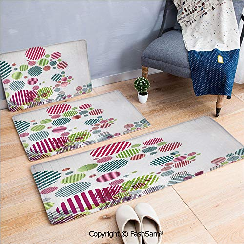 FashSam 3 Piece Flannel Bath Carpet Non Slip Abstract Artistic Pattern with Striped Different Colored Spots Dots Cheerful Fun Front Door Mats Rugs for Home(W15.7xL23.6 by W19.6xL31.5 by ()