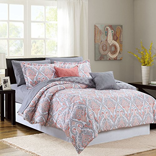 Sweet Home Collection Decorative Fashion Comforter Set Includes Sheet, King, Coral, 9 (Collection King Bedding 9 Piece)