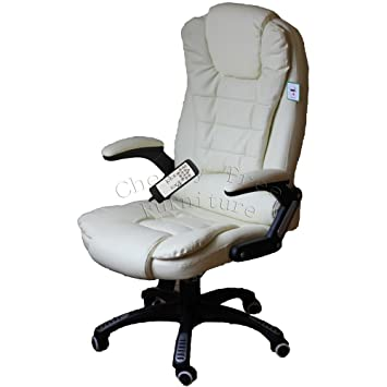 Executive Recline Extra Padded Office Chair Massage Cream