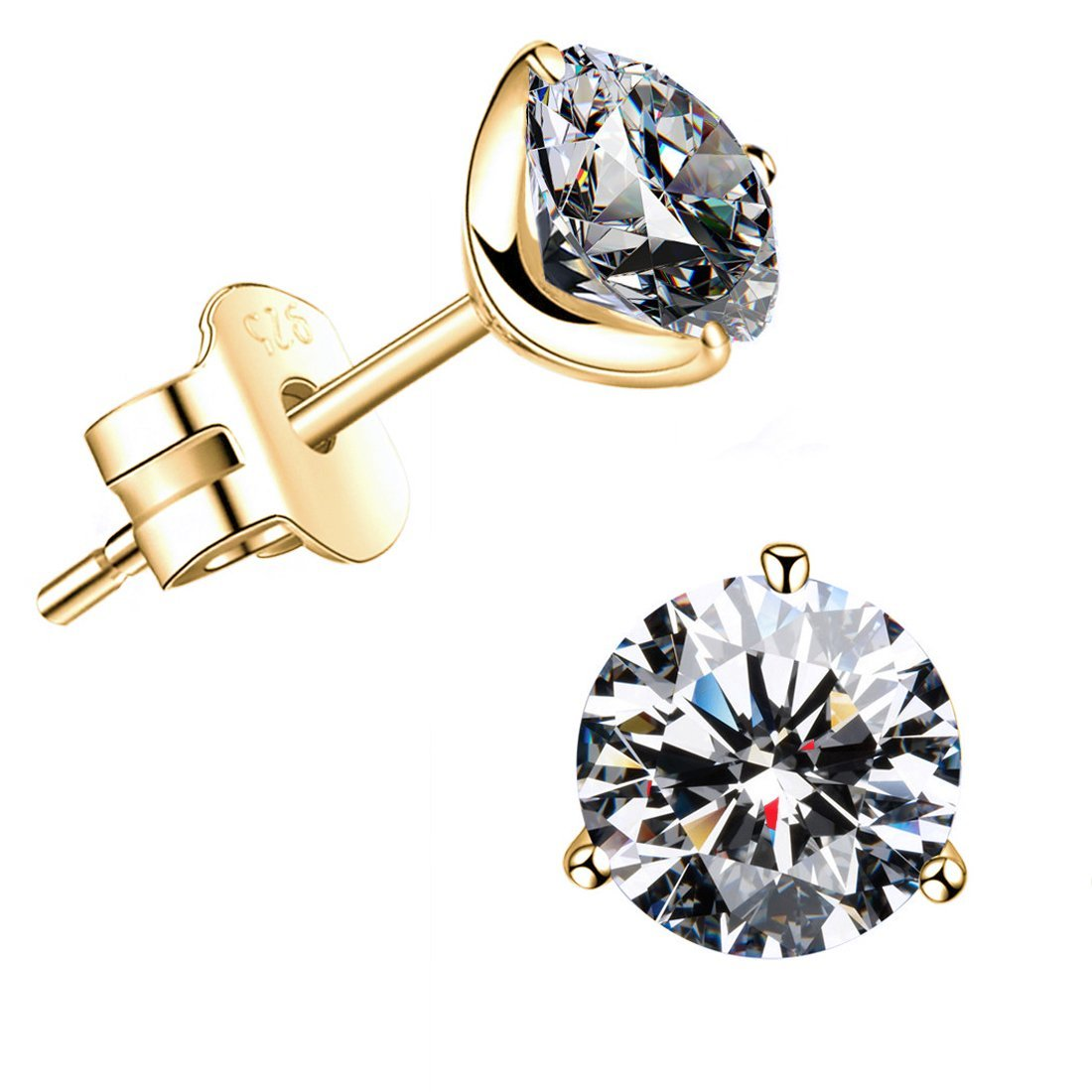 ''STUNNING FLAME'' 18K Gold Plated Silver Brilliant Cut Simulated Diamond CZ Stud Earrings (yellow-gold-plated-sterling-silver, 2.4)