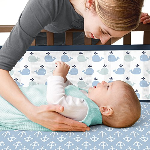 BreathableBaby | Classic Crib Bedding Set | Award Winning | Helps Prevent Arms and Legs from Getting Stuck Between Crib Slats | Independently Tested for Safety | 3 Piece | (Navy Whale)