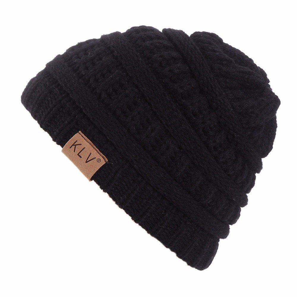 HULKAY Children's Caps Premium Cute Soft Stretch Winter Trendy Warm Wool Knitted Hat(Black) by HULKAY (Image #1)