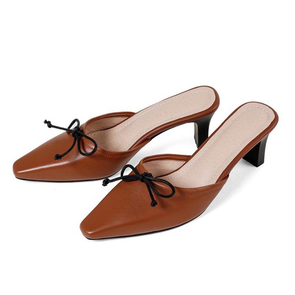 QXH Sandalen Damen Flip Flop Leder Wies Niedrig - Verfolgte Farbe