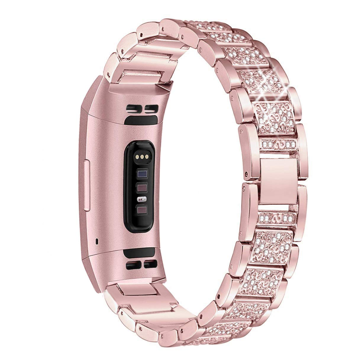 Mtozon Metal Bands Compatible Fitbit Charge 3, Replacement Metal Rhinestone Bling Bracelet Wristband for Women, Rose Gold