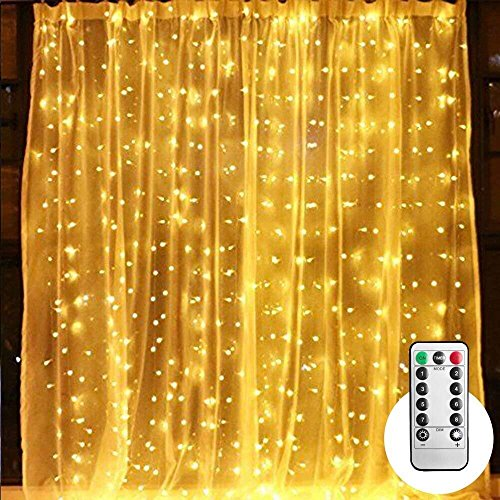 10 ft LED Curtain String Lights with Remote & Timer, 300-LED Icicle Fairy Twinkle Lights with 8 Light Modes fits for Bedroom Window Wedding Party Backdrop Home Garden Outdoor Indoor Wall, Warm White