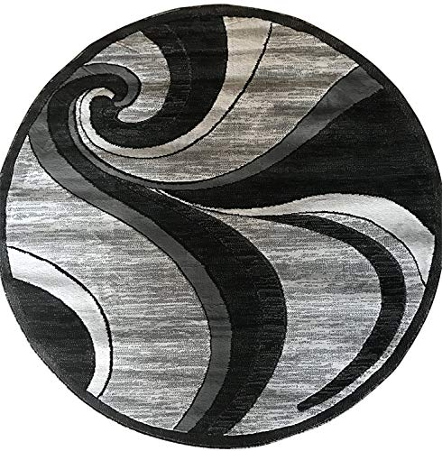 Modern Round Contemporary Area Rug Grey & Black Design 144 (4 Feet X 4 Feet Round)