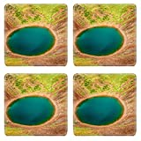 Liili Square Coasters Non-Slip Natural Rubber Desk Pads IMAGE ID: 17924075 Kerid is a beautiful crater lake of a turquoise color located on the South West of Icela