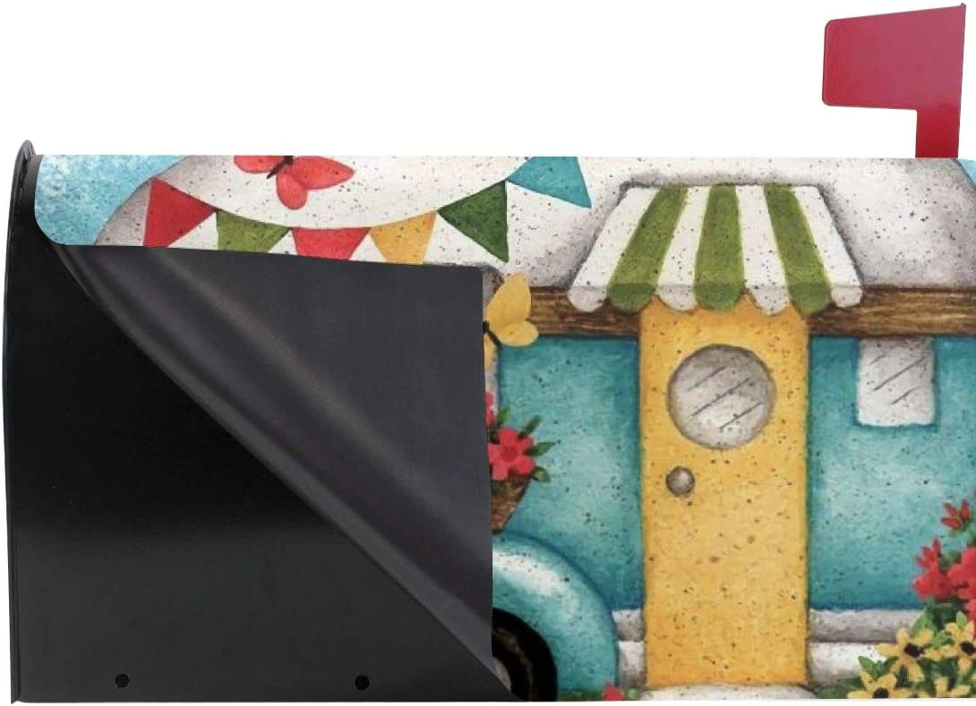 Tidyki Happy Camper Camping Florals Welcome Large Magnetic Mailbox Letter Post Box Cover Wraps MailWrap Garden Home Yard Outdoor Decor Standard 21x18 in